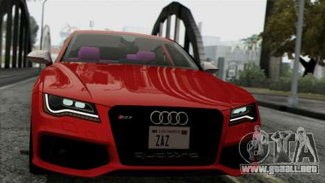 Audi RS7 2014 para GTA San Andreas vista posterior izquierda