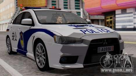 Mitsubishi Lancer Evo X Chinese Police para GTA San Andreas