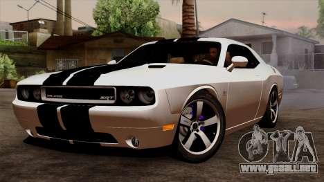 Dodge Challenger SRT8 392 2012 Stock Version 1.0 para visión interna GTA San Andreas