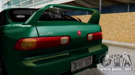 Acura Integra Fast and Furious para GTA San Andreas vista hacia atrás