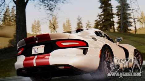 Dodge Viper SRT GTS 2013 IVF (MQ PJ) HQ Dirt para GTA San Andreas vista hacia atrás