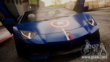 Lamborghini Aventador LP 700-4 Captain America para vista inferior GTA San Andreas
