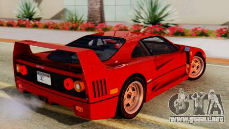 Ferrari F40 1987 with Up Lights para GTA San Andreas left