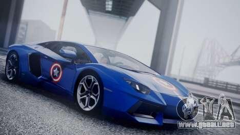 Lamborghini Aventador LP 700-4 Captain America para GTA San Andreas vista hacia atrás
