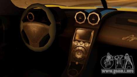 Koenigsegg Agera 2011 para la visión correcta GTA San Andreas