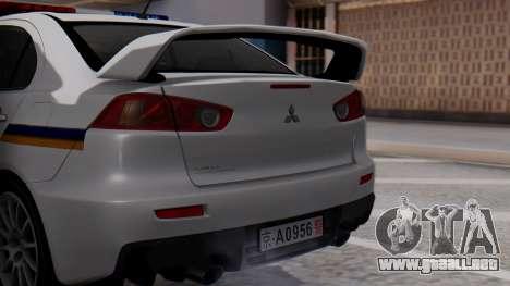 Mitsubishi Lancer Evo X Chinese Police para GTA San Andreas vista hacia atrás
