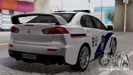 Mitsubishi Lancer Evo X Chinese Police para GTA San Andreas left