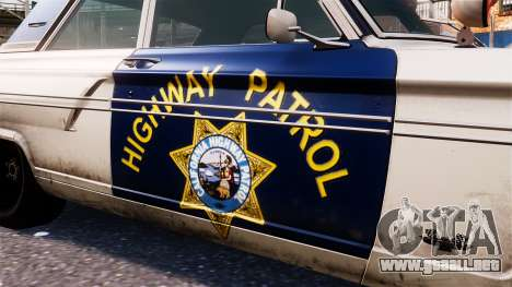 Ford Fairlane 1964 Police para GTA 4 vista hacia atrás