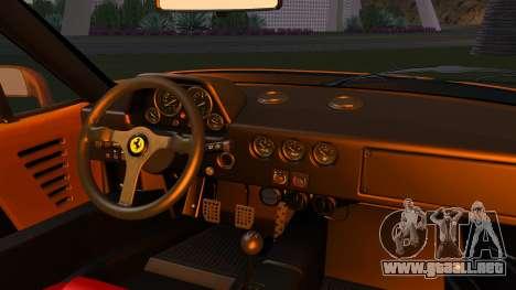 Ferrari F40 1987 without Up Lights para GTA San Andreas vista hacia atrás