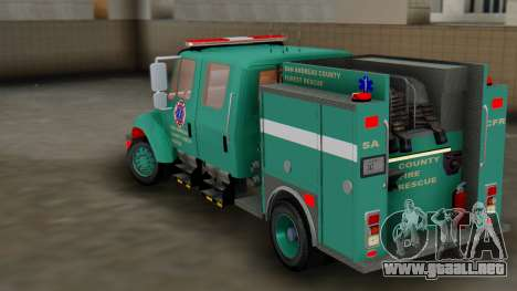 SACFR International Type 3 Rescue Engine para GTA San Andreas vista posterior izquierda