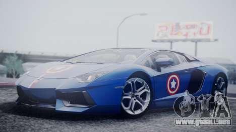Lamborghini Aventador LP 700-4 Captain America para la visión correcta GTA San Andreas