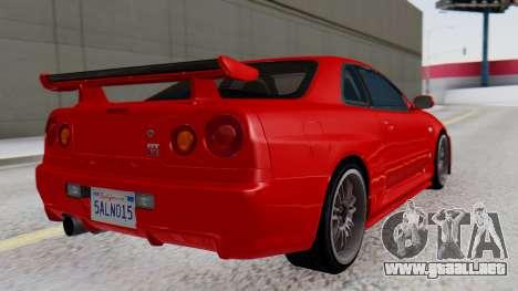 Nissan Skyline R34 para GTA San Andreas left