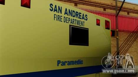 SAFD SAX Rescue Ambulance para la visión correcta GTA San Andreas