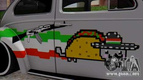 Volkswagen Beetle Vocho Nyan Cat V Mexicano para GTA San Andreas vista posterior izquierda