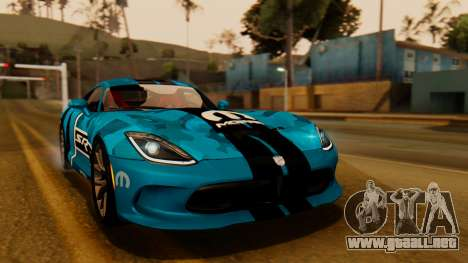 Dodge Viper SRT GTS 2013 IVF (HQ PJ) HQ Dirt para GTA San Andreas interior