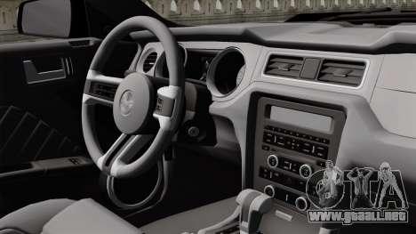 Ford Mustang GT 2010 para GTA San Andreas vista hacia atrás