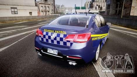 Holden VF Commodore SS Highway Patrol [ELS] v2.0 para GTA 4 Vista posterior izquierda