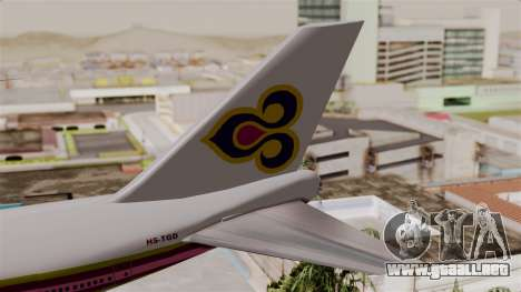 Boeing 747-200 Thai Airways para GTA San Andreas vista posterior izquierda
