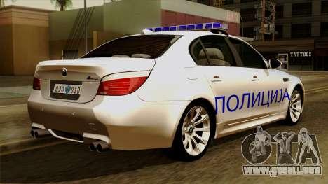 BMW M5 E60 Macedonian Police para GTA San Andreas left
