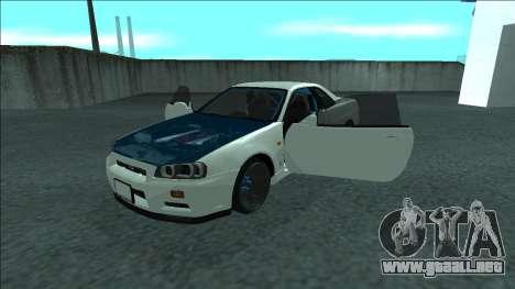 Nissan Skyline R34 Drift para vista inferior GTA San Andreas