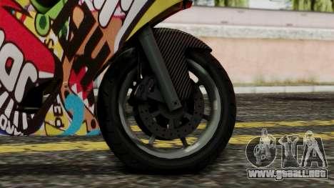 Bati Motorcycle JDM Edition para GTA San Andreas vista posterior izquierda