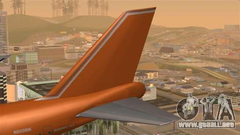 Boeing 747 Braniff para GTA San Andreas vista posterior izquierda