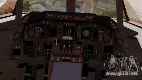 Boeing 747-200 Thai Airways para GTA San Andreas vista hacia atrás