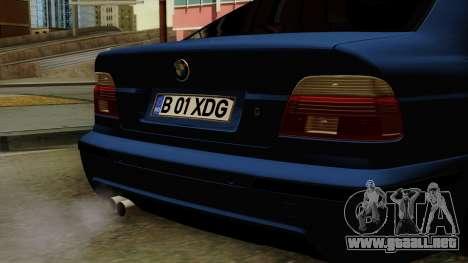 BMW M5 E39 Bucharest para GTA San Andreas vista hacia atrás
