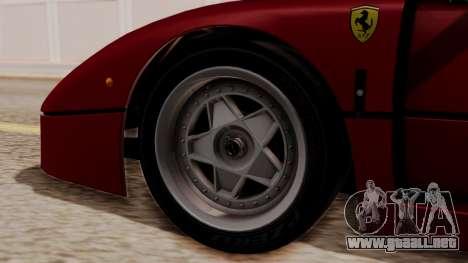 Ferrari F40 1987 without Up Lights HQLM para GTA San Andreas vista posterior izquierda