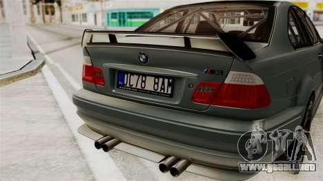 BMW M3 E46 GTR 2005 Stock para GTA San Andreas vista hacia atrás