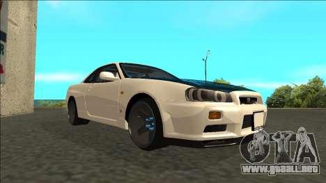 Nissan Skyline R34 Drift para la visión correcta GTA San Andreas