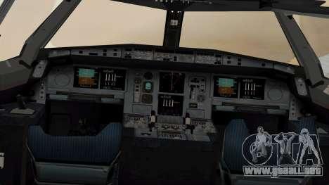 Airbus A380-861 Air India para GTA San Andreas vista hacia atrás