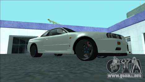 Nissan Skyline R34 Drift para GTA San Andreas vista hacia atrás
