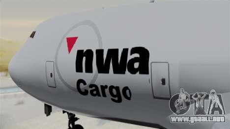 Boeing 747 Northwest Cargo para GTA San Andreas vista hacia atrás