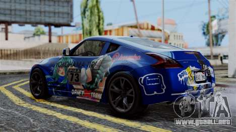 Nissan 370Z Tunable Miku Paintjob para GTA San Andreas vista posterior izquierda
