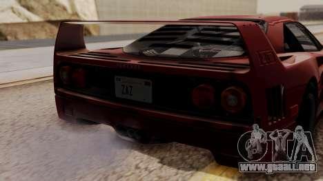 Ferrari F40 1987 without Up Lights HQLM para GTA San Andreas vista hacia atrás