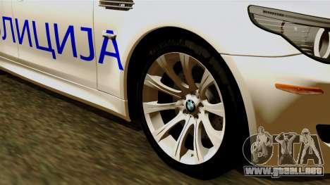 BMW M5 E60 Macedonian Police para GTA San Andreas vista posterior izquierda