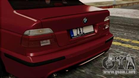 BMW 530D E39 2001 Mtech para GTA San Andreas vista hacia atrás