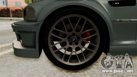 BMW M3 E46 GTR 2005 Stock para GTA San Andreas vista posterior izquierda
