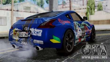 Nissan 370Z Tunable Miku Paintjob para GTA San Andreas left