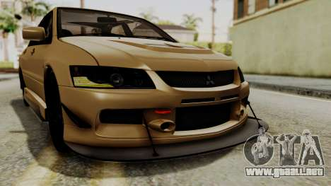 Mitsubishi Lancer Evolution IX MR 2006 para vista inferior GTA San Andreas