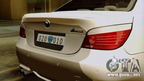 BMW M5 E60 Macedonian Police para visión interna GTA San Andreas