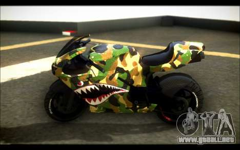 Bati Motorcycle Camo Shark Mouth Edition para GTA San Andreas left