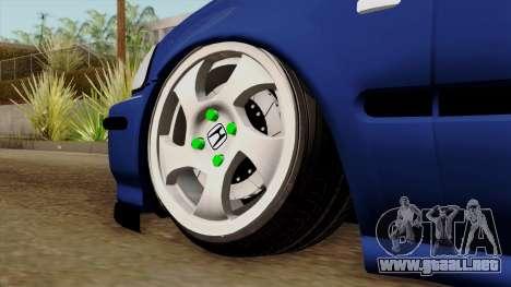 Honda Civic Sedan B. O. De La Construcción para GTA San Andreas vista posterior izquierda