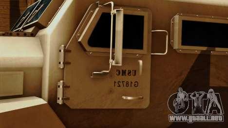MRAP Cougar 4x4 para GTA San Andreas vista hacia atrás