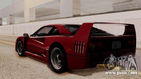 Ferrari F40 1987 without Up Lights HQLM para GTA San Andreas left