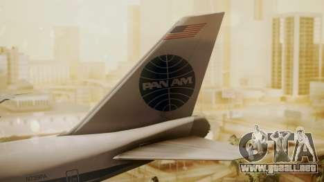 Boeing 747-100 Pan Am Clipper Maid of the Seas para GTA San Andreas vista posterior izquierda