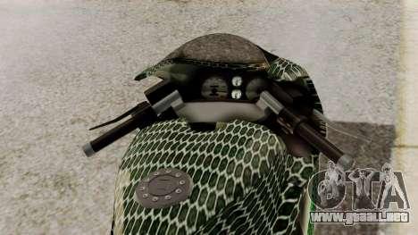 Bati Motorcycle Razer Gaming Edition para GTA San Andreas vista hacia atrás