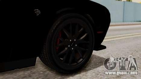 Dodge Challenger SRT Hellcat 2015 IVF para GTA San Andreas vista posterior izquierda