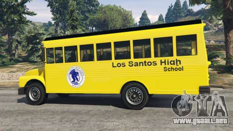GTA 5 Clásico autobús de la escuela vista lateral trasera derecha